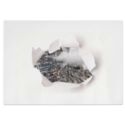 Hole In Board Tempered Glass Chopping Board - White